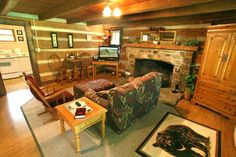 Timeless Treasures is a beautiful 1 bedroom cabin with an amazing wood burning fireplace.