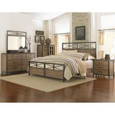 Contemporary rustic bedroom. Really love the furniture