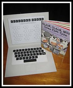 "Spelling practice with homemade laptop. Goes well with book ""Click, Click, Moo Cows That Type"" by Doreen Cronin."