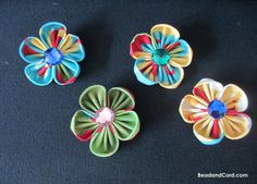 DIY Kanzashi Fabric Flower Hair Clips: How to Make 5 Petal Fabric Flower Hair Clips - Bead&Cord