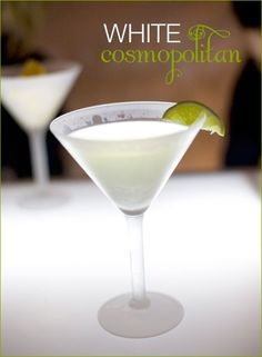 WHITE COSMO. 1/2 oz Cointreau orange liqueur 1/2 oz lime juice 1 oz vodka (or 2 oz for a stronger cocktail) 2 oz white cranberry juice. Pour all ingredients in an ice-filled cocktail shaker, shake well and strain into chilled martini glass. Garnish with a lime wedge.