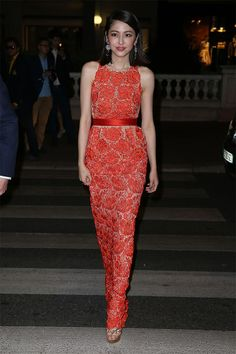 Masami Nagasawa wearing a red lace Stella McCartney dress at ' The Crossing ' party at the Cannes Film Festival. Photo courtesy of Getty Images.