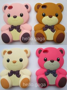 1pcs 3D Cute Lovely for teddy silicone soft bears Case for iPhone 4 4S 4G