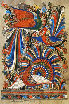 Birds of Paradise - Amate bark painting: Mexican Artwork, Mexican Paintings, Mexican Folk Art, Zentangle, Peacock Painting, Mexico Art, Truck Art, Chicano Art, Guache