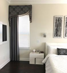 Beautifully Crafted Custom Drapes and Window Treatments. Beautifully Crafted Custom Drapes and Window Treatments. Living Room Windows, House Windows, Living Room Decor, Bedroom Decor, Bay Windows, Small Windows, Bedroom Ideas, Valance Window Treatments, Custom Window Treatments