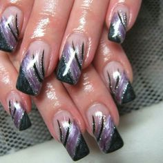 Shorter pretty For other models, you can visit the category. Nail Art Violet, Purple Nail Art, Funky Nail Art, Funky Nails, Purple French Manicure, Nail Art Designs, Long Nail Designs, Colorful Nail Designs, Ongles Funky