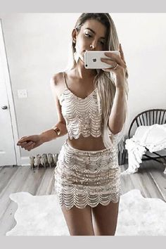 Womens sexy dresses party night club dress two piece dress sequin vestidos mujer moda feminina summer dresses robe moulant Sweet 16 Dresses, Sexy Dresses, Short Dresses, Fashion Dresses, Summer Dresses, Evening Dresses, Champagne Homecoming Dresses, Two Piece Homecoming Dress, Prom Dress