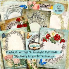 FRENCH POSTCARD 9 background 5x7 inch - Digital collage sheet - shabby frames victorian greeting cards - instant download printable - pp356