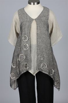 NP - Double Tunic - Natural & Black - Tops at Fawbush's