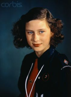 Princess Margaret in her Girl Guides uniform/Girl Scouts. She was still the President of Girl Guides/Scouts till the day of her death.