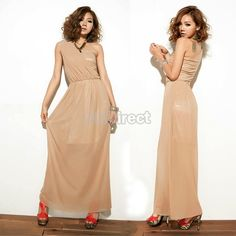 $10.63 Sexy Womens Single Shoulder Net Yarn Long Dress Cocktail Party Elegant Dress Khaki