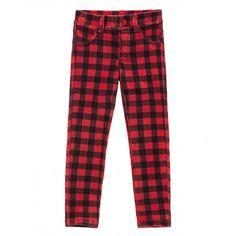 Pantaloni quattro tasche skinny stretch in ciniglia con cinque passanti in vita e carrè dietro. Stampati all over.