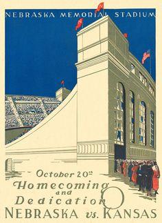 1923 Nebraska Cornhuskers vs Kansas Jayhawks 36 x 48 Canvas Historic Football Poster