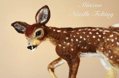 Felted Little deer needle felting fawn felted animals small
