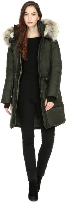 PRE-ORDER | AUDRIANA parka with removable fur trim in Moss