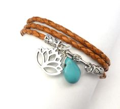 #Orange #Braided #Leather #Wrap #Bracelet with #Lotus #Flower #Charm and #Turquoise, #yoga #jewelry,wrapped, wrapping, wrap around,wrist wrap #thecraftstar $37.00