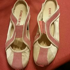 Diesel sporty ballet flats. Sz 6.5 Pink satin and suede. Gently used. Diesel Shoes Flats & Loafers