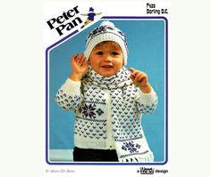Vintage WENDY peter Pan P423 Baby Fair-Isle Jacket Scarf and Bobble Hat Knitting Pattern