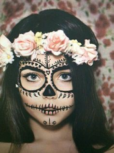 Imagen de Halloween, flowers, and makeup