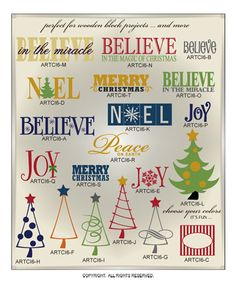 DIGITAL DOWNLOAD ... a fun add-on of 20 single and layered festive wall word art vinyl lettering vector art graphics ... perfect for door, window, glass, and wood block projects (AI, EPS, GSD, SVG files) @ My Vinyl Designer (www.myvinyldesign...)