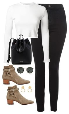 """""""Untitled #4207"""" by magsmccray ❤ liked on Polyvore featuring Topshop, Rosetta Getty, Yves Saint Laurent, Mansur Gavriel and Ray-Ban"""