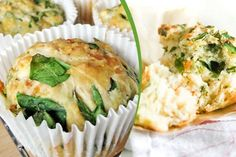 Healthy Feta, Cheddar and Spinach Muffin Recipe #cupcakes