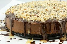 Simple to make, velvety smooth Chocolate Cheesecake with Oreo cookie crust drizzled with chocolate sauce, butter caramel and topped with toasted hazelnuts. Cheesecakes, Pie Dessert, Dessert Recipes, Hazelnut Recipes, Chocolate Cheesecake Recipes, Chocolate Cheescake, Cheesecake Bars, Chocolate Icing, Chocolate Lovers