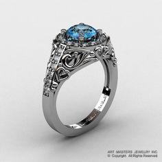 Italian 950 Platinum 1.0 Ct Aquamarine Diamond by DesignMasters, $2259.00