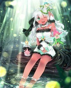 白髪褐色ケモ耳っ娘と妖精さん