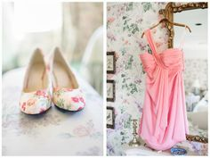 Blush bridesmaids dresses and floral print shoes. Secret Garden themed real Michigan wedding.  Image by Pasha Belman // www.pashabelman.com