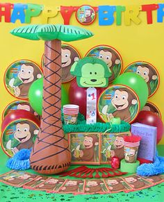 Thinking about doing this for Kaidens bday! Curious George Party, Curious George Birthday, 4th Birthday Parties, Birthday Bash, Birthday Ideas, Monkey Birthday, Party Gifts, Party Time, First Birthdays