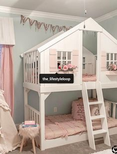 Tree House Twin-Over-Twin Bunk Bed Baumhaus Twin-Over-Twin-Etagenbett Bunk Beds For Girls Room, Twin Bunk Beds, Kid Beds, Girls Bedroom, House Beds For Kids, Bed Rooms, Toddler Bunk Beds, Bed For Kids, Toddler Girl Rooms