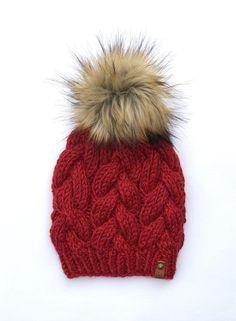 Fox Chunk Heavy Knit Bobble Beanie Pudelmütze Bommelmütze Kopfbekleidung Bekleidung