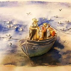 The Fishermen in Aegina - Greece. Watercolour Painting, Greece, Arts And Crafts, The Originals, Handmade, Beautiful, Greece Country, Hand Made, Art And Craft