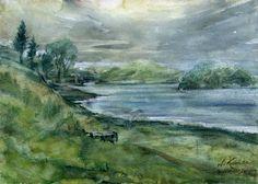 Gródek nad Dunajcem. Watercolor. Author: Witold Kubicha