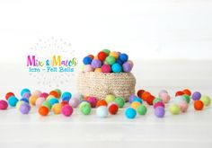1CM  Tiny Wool Felt Balls  50 100  Colorful Felt by CraftyWoolFelt