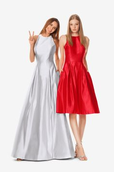 3b93eaa8dae Brooke bridesmaid gown in Silver with short version Ashleigh in Cerise.  Both by David Tutera. Gather   Gown Bridesmaids
