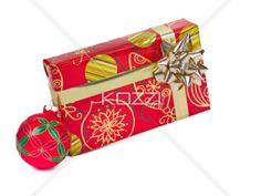 Gift and Ornament - Gift package and Christmas ornament on white background