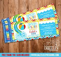 Pool Party Ticket Birthday Invitation 1 - FREE thank you card included