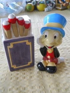 Jiminy Cricket and Matchbox Salt and Pepper Shakers by DEWshophere