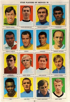 Os Grandes Craques da Copa do Mundo do México em 1970.