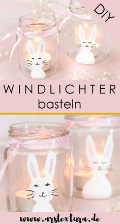 Tinker Easter bunnies,Tinker Easter bunny lanterns: Upcycling idea for screw glasses - simple Easter decorations and paint glasses with rabbits Embroidery Flowers Pattern, Simple Embroidery, Upcycled Crafts, Diy And Crafts, Decoration Restaurant, Flower Tutorial, Easter Crafts, Easter Bunny, Creations