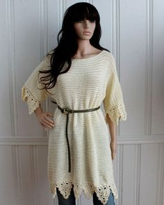 Picture of Easy Boat Neck Tunic Crochet Pattern, a variation of the blue tunic
