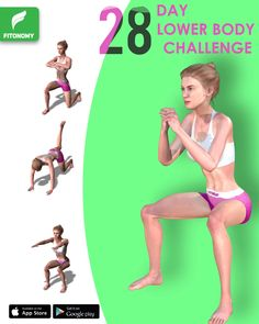 Only 4 workouts to complete the challenge for 28 days to get a stronger lower body. These workouts will target your full legs and butt muscles. Be part of our challenge and get toned butt and legs ! Hip Workout, Workout Videos, Easy Workouts, At Home Workouts, Lower Body Challenge, Fitness Workout For Women, Flexibility Workout, 28 Days, Workout Challenge