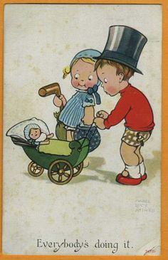 """Mabel Lucie Attwell, vintage card..""""Everybody's Doing It"""""""