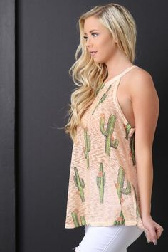 Sleeveless Hacci Knit Cactus Top