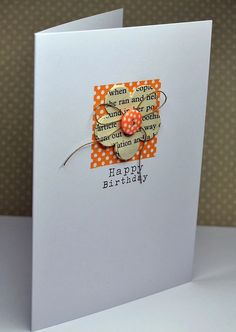 It's a dot-fest for your handmade birthday card! Match the colors of dotted background square to the dotted button. The flower is stamped with newsprint stamp, and everything is tied together with the twine bow. Handmade Birthday Cards, Happy Birthday Cards, Greeting Cards Handmade, Simple Handmade Cards, Simple Birthday Cards, Tarjetas Diy, Button Cards, Card Making Inspiration, Pretty Cards