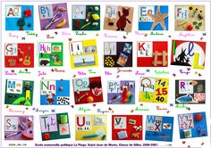 "Collaged alphabet (in French, which is why the images don't match the sound!) ("",)"