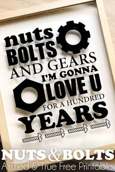 Nuts & Bolts Silhouette Art - A Tried & True Free Printable--for fathers day Silhouette Art, Silhouette Cameo Projects, Valentine Day Gifts, Valentines, Just In Case, Just For You, Pokerface, Little Things Quotes, Fathers Day Crafts