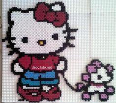 Hello Kitty and puppy hama perler by DECO.KDO.NAT